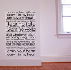 Large Subway Art Style Vinyl Wall Decal - E.E. Cummings Poem 'i carry your heart with me...'.