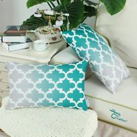 2Pcs Teal Cushion Cover Pillow Case Gradient Quatrefoil Accent Geometric 30x50cm Teal Cushion Covers, Teal Cushions, Moroccan Cushions, For You Blue, Cover Pillow, Quatrefoil, Throw Pillows, Toss Pillows, Cushions