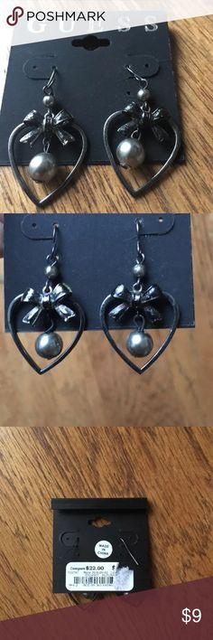 Guess earrings new heart pearl bow dangle New with tags Guess earrings! Guess Jewelry Earrings