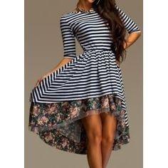 Stylish Round Collar 3/4 Sleeve Striped Floral Print Asymmetrical Women's Dress