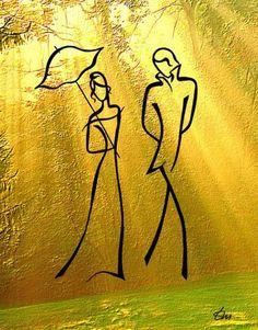 Drawings Feel the line by Russian artist Tatyana Markovtsev Minimalist Drawing, Minimalist Painting, Minimalist Art, Line Drawing, Painting & Drawing, Illustration Art, Illustrations, Fractal Art, Line Art