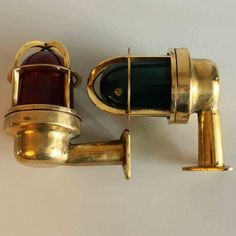Matched pair of 90 Degree Curved Red and Green Navigational Lights