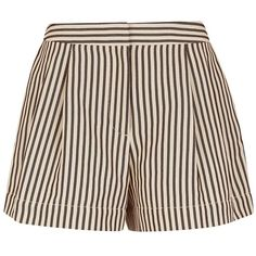 3.1 Phillip Lim Ivory Striped Poplin Utility Shorts (€350) ❤ liked on Polyvore featuring shorts, multi, stretch shorts, zipper shorts, striped shorts, metallic shorts and stretchy shorts