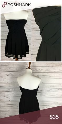 EXPRESS Chiffon Strapless Little Black Dress Bust: 14 inches  -  Length: 26 inches  -  Strapless - side zipper closure - Pleated bottom - 100% polyester - Little Black Dress Express Dresses Strapless