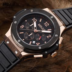 Baogela Chronograph 24 Hours Function Sport Quartz Watch for Man Mens Silicone Gold Luxury Military Wristwatch relogio masculino