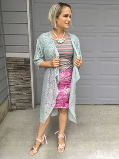 ca596f22c78c8 Bold floral LuLaRoe cassie skirt. Pattern mixing outfit with LuLaRoe gigi  top layered with LuLaRoe