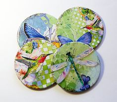 Hummingbird Coasters, Butterfly Coasters, Coasters, Wine Coasters, Drink Coasters, Tableware, Housewarming Gift, Hostess Gift (5020)