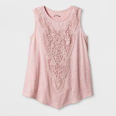 Girls' Knit Crochet Tank Top - Art Class Rose (Pink) XL