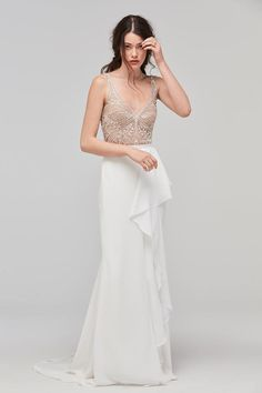Beaded V-Neck Wedding Dress with Crepe Skirt | Willowby by Watters Fall 2017 |  http://trib.al/tixUQic