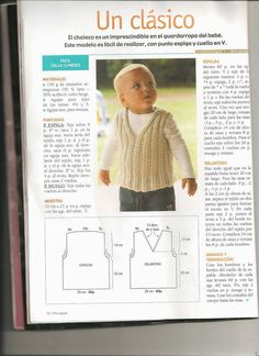 butterflycreaciones / fanaticadel tejido: revista dos agujas Baby Boy Vest, Baby Boy Sweater, Knitted Baby Cardigan, Baby Sweaters, Crochet Baby Clothes Boy, Crochet For Boys, Knitting For Kids, Baby Knitting Patterns, Diy Crafts Knitting