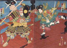 Utagawa Kunisada / Benkei und Ushiwaka auf der Gojobashi