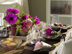 simple table setting with colorful flowers
