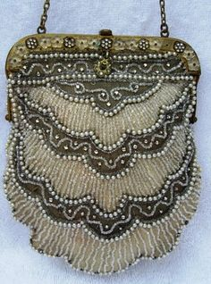 Ornate vintage pearl and mini glass bead evening bag.