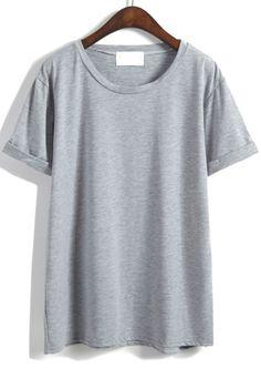 Shop Cuffed Loose Grey T-shirt online. SheIn offers Cuffed Loose Grey T- shirt…