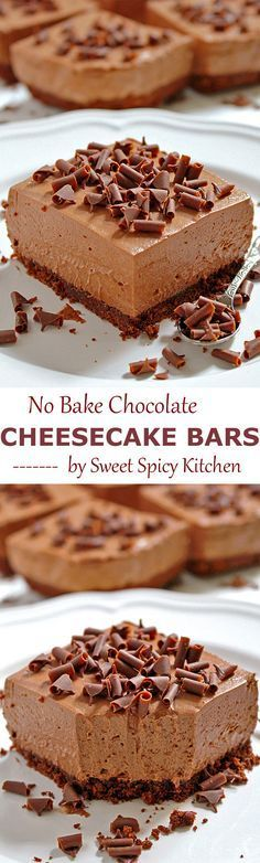 These creamy chocolate cheesecakes sprinkled with chocolate swirls create a delicious bar dessert - NO BAKE CHOCOLATE CHEESECAKE BARS