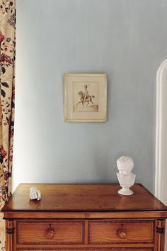 Farrow and Ball  Light Blue No.22     If you wish for a slightly light blue room this, rather than the more obviously blue blues, is the one to try. Mid Tones undercoat.