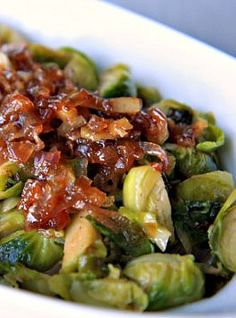 Brussel Sprouts w/ Caramilized Shallots By TheNoshery.com #Thanksgiving #Side