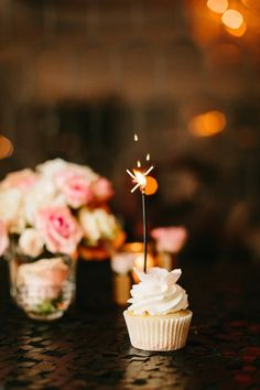 Sparkler cupcake: http://www.stylemepretty.com/living/2015/12/29/chic-chanel-inspired-30th-birthday-bash/ | Photography: Jodee Debes - http://jodeedebes.com/