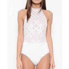 Patterned White Mock Neck Bodysuit Mock neck white bodysuit with patterned fabric. Only available in white. Brand new. Junior sizing. NO TRADES. PRICE FIRM. Bare Anthology Tops Blouses