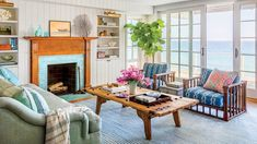 The owners of a small cottage break with Malibu's more modern vernacular by channeling old-school summerhouse style—cedar shingles, well-worn antiques, and American flags welcome. Beach Cottage Style, Beach Cottage Decor, Coastal Cottage, Modern Cottage Decor, Cottage Design, Cozy Cottage, Cottage Breaks, Dining Corner, Interior Decorating