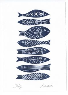 , 8 Fish - Linocut by Milena Misheva - cut - . , 8 Fish - Linocut by Milena Misheva - cut - 8 Fish – Linocut by Milena Misheva -. Posca Art, Stamp Carving, Linoprint, Fish Design, Tampons, Fish Art, Fabric Painting, Encaustic Painting, Linocut Prints
