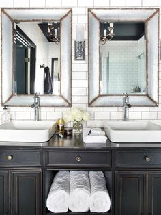 Looking for Black and White Bathroom and Double Vanity Bathroom ideas? Browse Black and White Bathroom and Double Vanity Bathroom images for decor, layout, furniture, and storage inspiration from HGTV. Black And White Master Bathroom, Black Vanity Bathroom, Bathroom Vanity Designs, Bathroom Vintage, Small Bathroom, Vintage Vanity, Vintage Cabinet, Distressed Bathroom Vanity, Timeless Bathroom