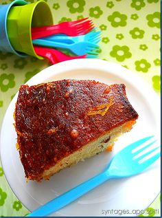 Almond Cake with Orange Syrup Greek Desserts, Greek Recipes, Orange Syrup, Chiffon Cake, Almond Cakes, Recipes From Heaven, Tiramisu, Cinnamon, Cheesecake