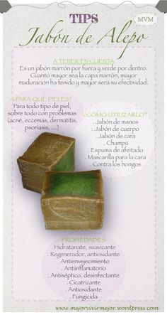 Jabón de Alepo. Se dice que el Jabón de Alepo es el jabón más antiguo y artesanal que existe. Es el primer jabón sólido que ha existido. Es completamente vegetal, elaborado a base de aceites de oliva y de laurel. Se puede utilizar para todo tipo de piel pero sobre todo para pieles sensibles y con problemas ya que cuenta con unas extraordinarias propiedades curativas. Os animamos a que conozcáis uno de los jabones más prestigiosos del mundo. Dicen que es el jabón que utilizaba Cleopatra.