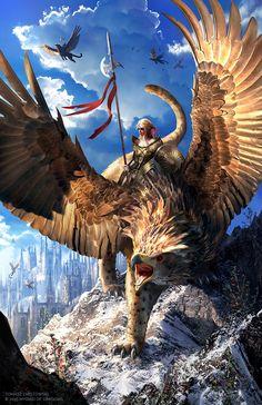 Griffin rider by Takeda11.deviantart.com on @DeviantArt