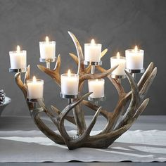 Pottery Barn Antler Multi-Votive Centerpiece (not made from real antlers! Fireplace Candle Holder, Candles In Fireplace, Antler Candle Holder, Rustic Candle Holders, Fireplace Hearth, Fireplace Ideas, Votive Centerpieces, Antler Centerpiece, Votive Candles