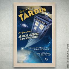 Travel by TARDIS // Vintage Styled Doctor Who Poster //  Police box zooming in Space 11x17 Print door TheArtEye op Etsy https://www.etsy.com/nl/listing/159188015/travel-by-tardis-vintage-styled-doctor