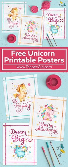 Free Unicorn Printables! Perfect for parties, nursery, kids' rooms, gifts, and more! For every unicorn lover out there...