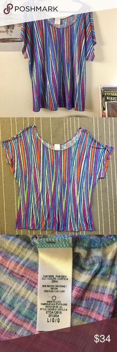 Ella Moss bright multi color stripes blouse large In good condition. Previously owned and loved. Size is large. Ask if have any questions. Ella Moss Tops Blouses