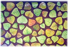 aspen leaf ceramic tiles, ceramic tile leaves, tiled aspen leaves, tiled leaf backsplash