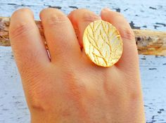 Tree Branch Statement Ring In Gold Plated Bronze Nature