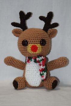 Reindeer Crochet Reindeer Christmas Red Nose Reindeer Button Eyes With Scarf Amigurumi Stuffed Animal Stuffed Doll Stuffed Toy Gift Decor  ************************************************************************************  Straight from the North Pole, this little guy is ready to play reindeer games this holiday season! He would be the perfect addition to any home for decor or as a toy. Made in a smoke free environment. Materials: ~ I Love This Yarn! (100% Acrylic) in toasted almond, red…