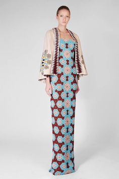Rami Kadi — Hand Embroidered Dress & With Hand Embroidered Leather Cape — 2014 Un Souffle d'Orient Collection