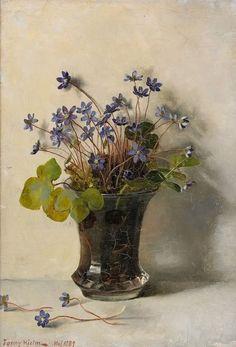 Fanny Elisabeth Wilhelmina Hjelm (1858–1944): Still Life with Blåsippor (1889)