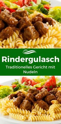 Traditionelles Rindergulasch mit Nudeln The traditional goulash with beef is popular with many! Each individual ingredient comes into its own and flatters the delicious beef goulash. Healthy Chicken Recipes, Beef Recipes, Cooking Recipes, Austrian Cuisine, Beef Goulash, Cooking Dishes, Vegetable Dishes, Clean Eating Recipes, Casserole Dishes