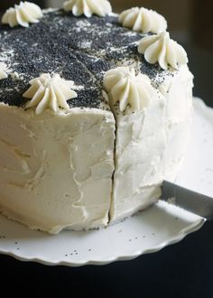 Bake at 350: Spiced Poppy Seed Cake with Almond Buttercream Frosting