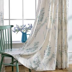 KoTing Home Fashion Linen Cotton Modern Elegant Blue Bloom Sage Abstract Beauty Purity Country Nature Flavor Print Window Curtains Drapes Grommet by >>> Visit the image link more details. Curtains 1 Panel, Teal Curtains, Lined Curtains, Colorful Curtains, Blackout Curtains, Window Curtains, Blue Floral Curtains, Living Room Drapes, Country Curtains