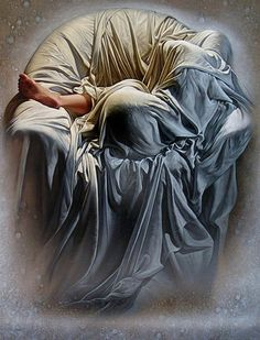 """""""Clouded in Dreams"""" - Claude Le Boul {contemporary figurative artist female draped in sheets reclining in chair painting #lovart}"""