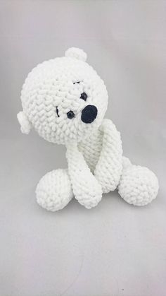 ATTENTION!! This is a pattern to make the polar bear, not the finished product! You have to know: MR = Magic Ring BLO = back loops only FLO = front loops only sc = single croche dec = decrease inc = increase You need this MATERIALS:  Crochet Hook: 6,0  white yarn: 1 ball of