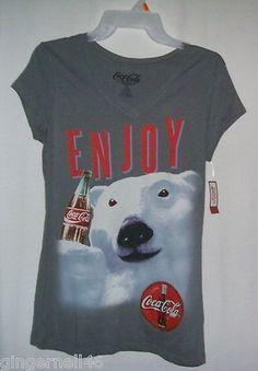 Coke Tee Shirt Gray Polar Bear Coca Cola Jr Size Medium 7-9 New With Tag Enjoy