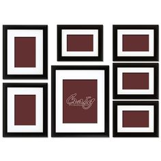 "This set includes: (1) 11x14 frame, (2) 8x10 frames, (4) 6x8 frames 1"" wide black wood composite frames (MDF material) Display mat included with each frame Matting is white with cream core (pH neutral) Matting is 0.05"" thick with bevel cut openings Each wall set also includes Hang & Level picture hanging tool Our Price: $62.99"