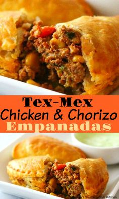 These Tex-Mex Chicken And Chorizo Empanadas are like a savory hand pie with a kick. Chorizo Recipes, Beef Recipes, Cooking Recipes, Healthy Recipes, Aloo Recipes, Milk Recipes, Copycat Recipes, Cake Recipes, Chicken Recipes