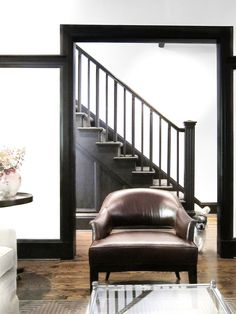 black staircase + trim