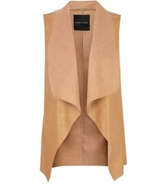 """#newlook #fall #fashion I have been searching for the perfect leather jacket to rock this fall. And in my search I stumbled upon this """"tan waterfall gilet."""" Not sure how it happened, but it did. And I think I found a new item to add to the summer into fall fashion list."""