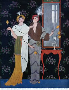 "1912 George Barbier for the catalogue ""fourrures portraits minatures"" for Leroy and Schmid, Paris Art Deco Illustration, Fashion Illustration Vintage, Fashion Illustrations, Art Deco Posters, Vintage Posters, Vintage Art, Art Deco Artists, Art Deco Paintings, Art Deco Stil"