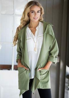 LookbookStore Women's Army Green Rayon Adjustable 3/4 Sleeve Cardigan Blouse: Clothing